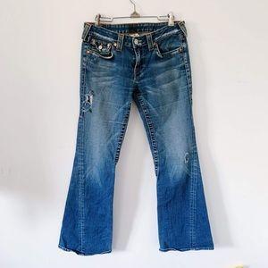 True Religion Ripped Bootcut Medium Wash Jeans